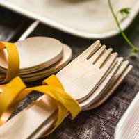 Disposable Wooden Knife Fork Spoon Cutlery Set